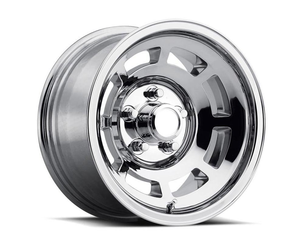 Factory Reproduction Series 23 Wheels 15x8 5x4.75 -13 HB 71.3 Corvette YJ8 76-82 Machine w/Gloss Black / Chrome Cap & Lug Nuts