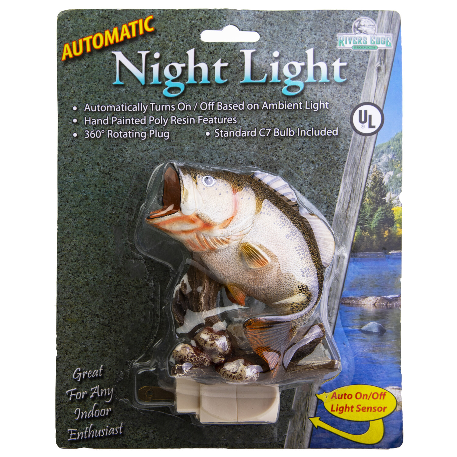 Rivers Edge 3D Automatic Night Light Wide Mouth Bass - Multi