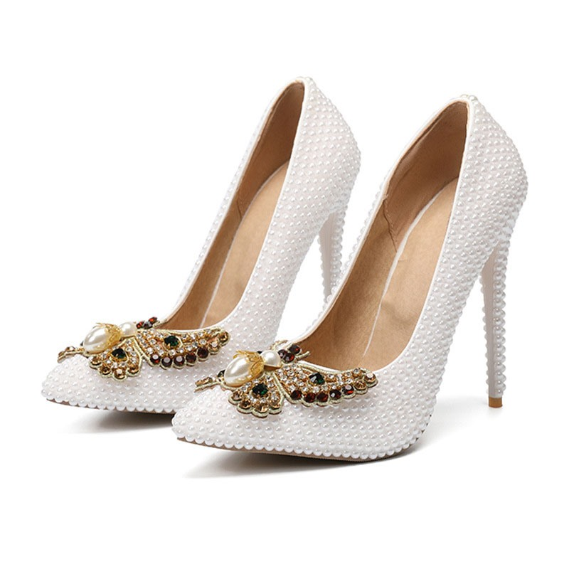 Ericdress Pointed Toe Slip-On Beads Low-Cut Upper Prom Shoes
