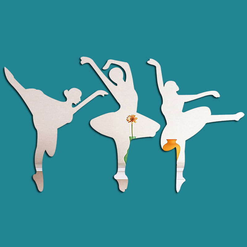 Classic Ballet Girl Pattern 3D Acrylic 3 Color TV And Sofa Background Wall Stickers