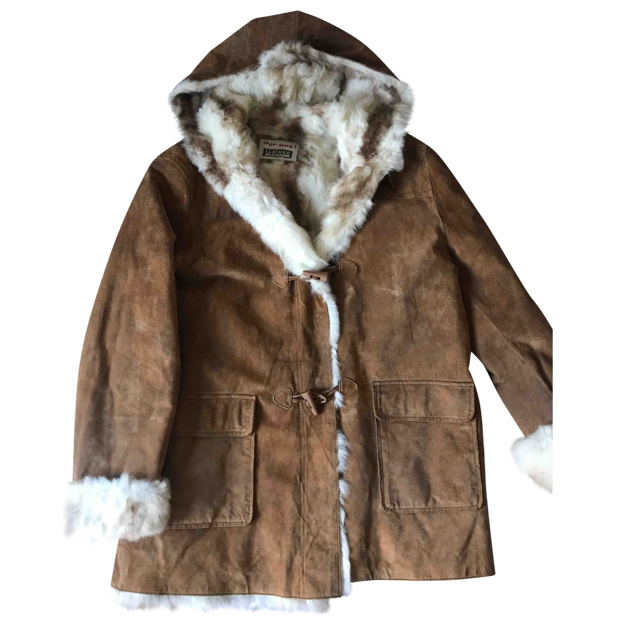 Non Signé / Unsigned \N Brown Rabbit coat for Women 38 FR