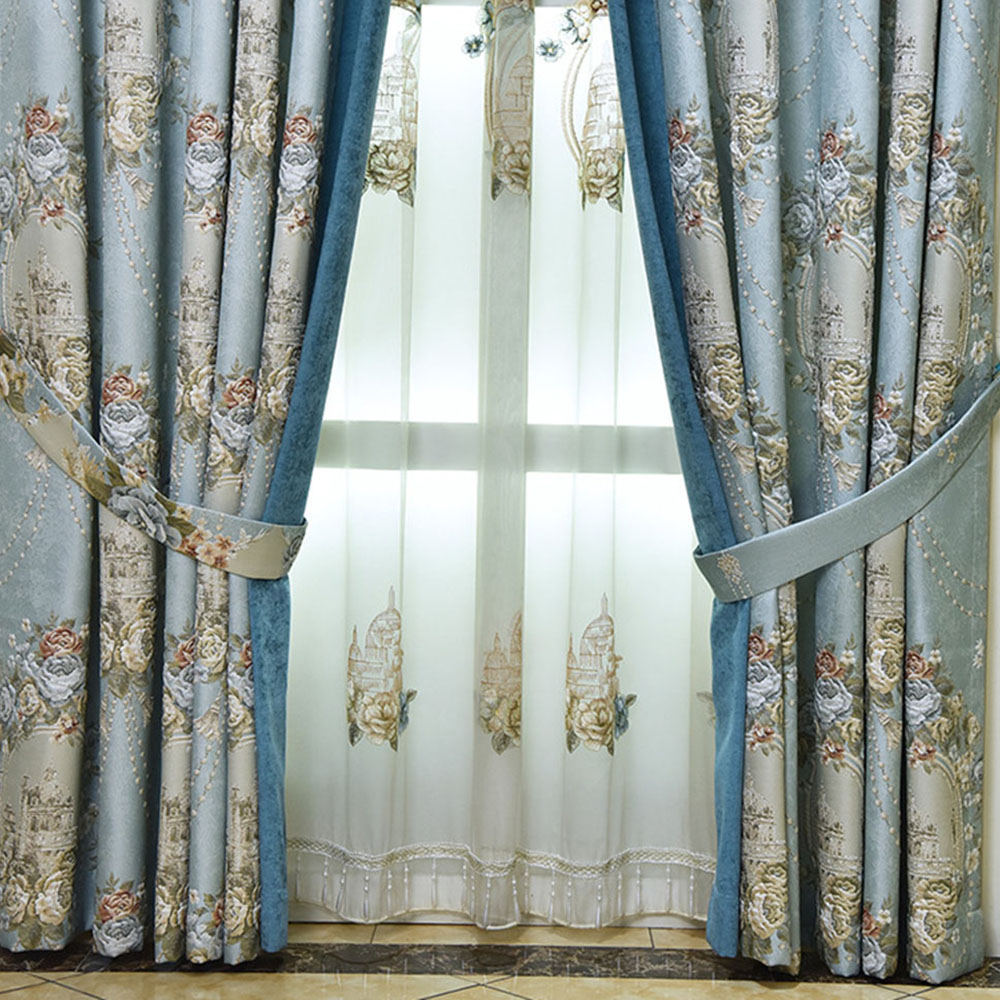 European Embroidered Ventilate Decorative Sheer Curtains for Living Room Custom 2 Panels Drapes No Pilling No Fading No off-lining