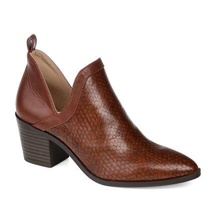 Journee Collection Womens Terri Stacked Heel Booties, 7 Medium, Brown