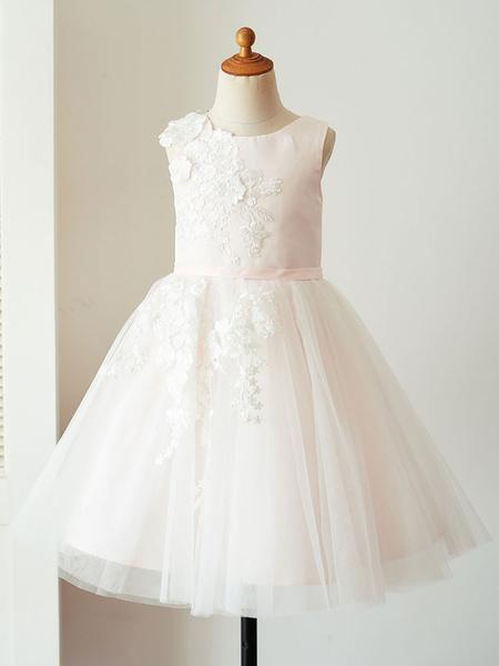 Milanoo Flower Girl Dresses Jewel Neck Satin Fabric Sleeveless Knee-Length Princess Silhouette Embroidered Formal Kids Pageant Dresses