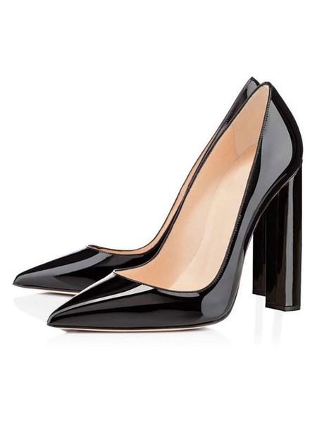 Milanoo Women's High Heels Black Slip-On Pointed Toe Chunky Heel Sexy Pumps