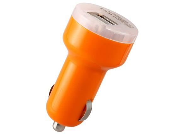 12V To Dual USB 2.0 Ports Car Adapter Plug And Play - Orange