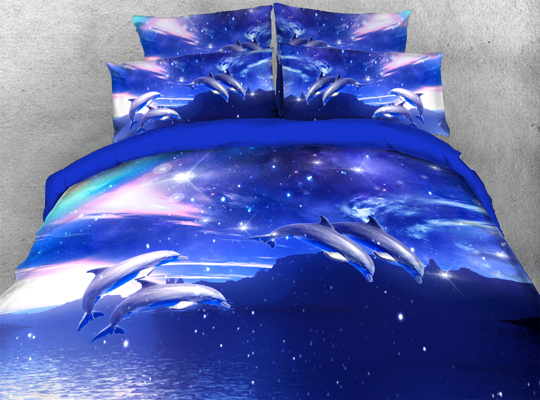 Jumping Dolphins 3D Animal Zipper 4pcs Bedding Sets No-fading Soft Reactive Printing Duvet Cover with Ties