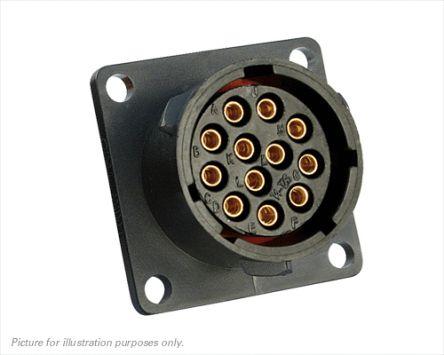 Souriau Connector, 12 contacts Flange Mount Plug, Crimp IP68, IP69K