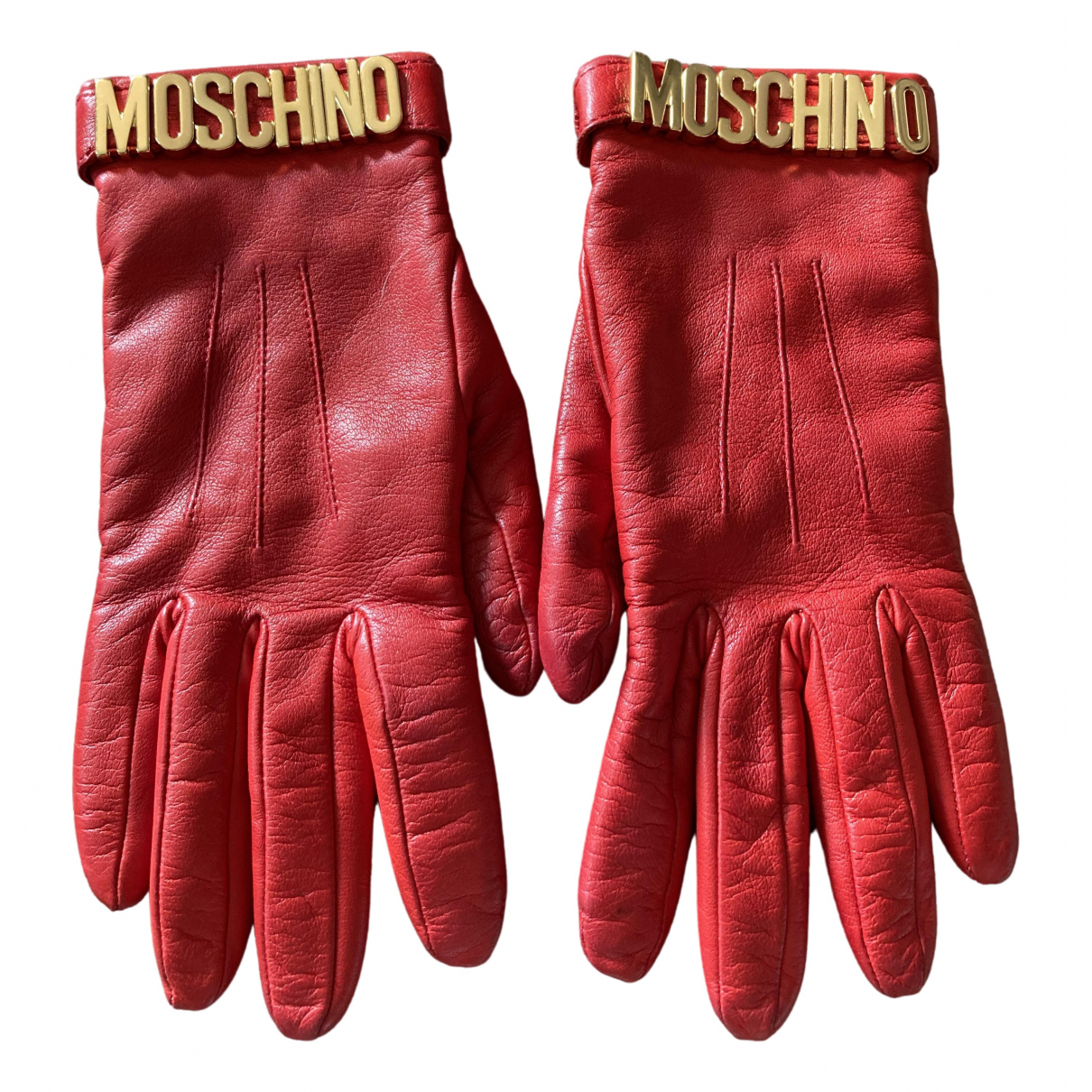 Moschino \N Red Leather Gloves for Women 7.5 Inches