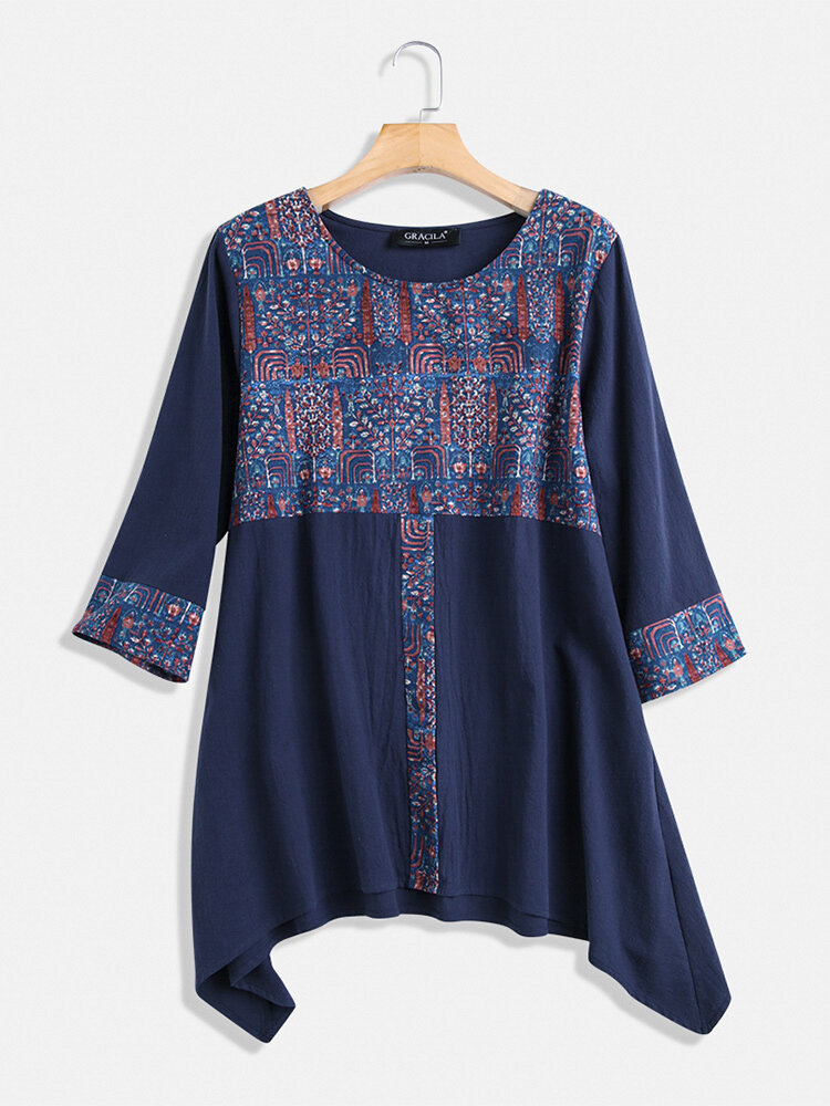 Ethnic Print Patchwork Long Sleeve Vintage Blouse For Women