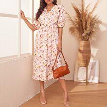 Floral Print Ruffle Trim Dress