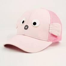 Girls Cartoon Design Contrast Mesh Baseball Cap