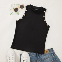 Button Detail Ribbed Tank Top