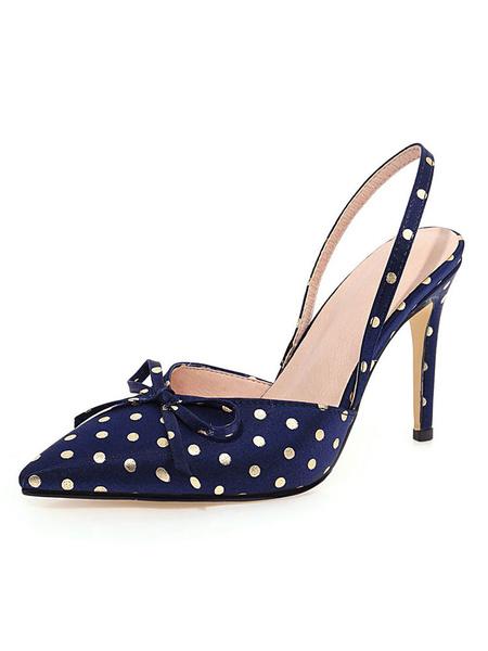 Milanoo Women\'s Slingbacks Pumps Pointed Toe Polka Dot Stiletto Heel Plus Size Shoes