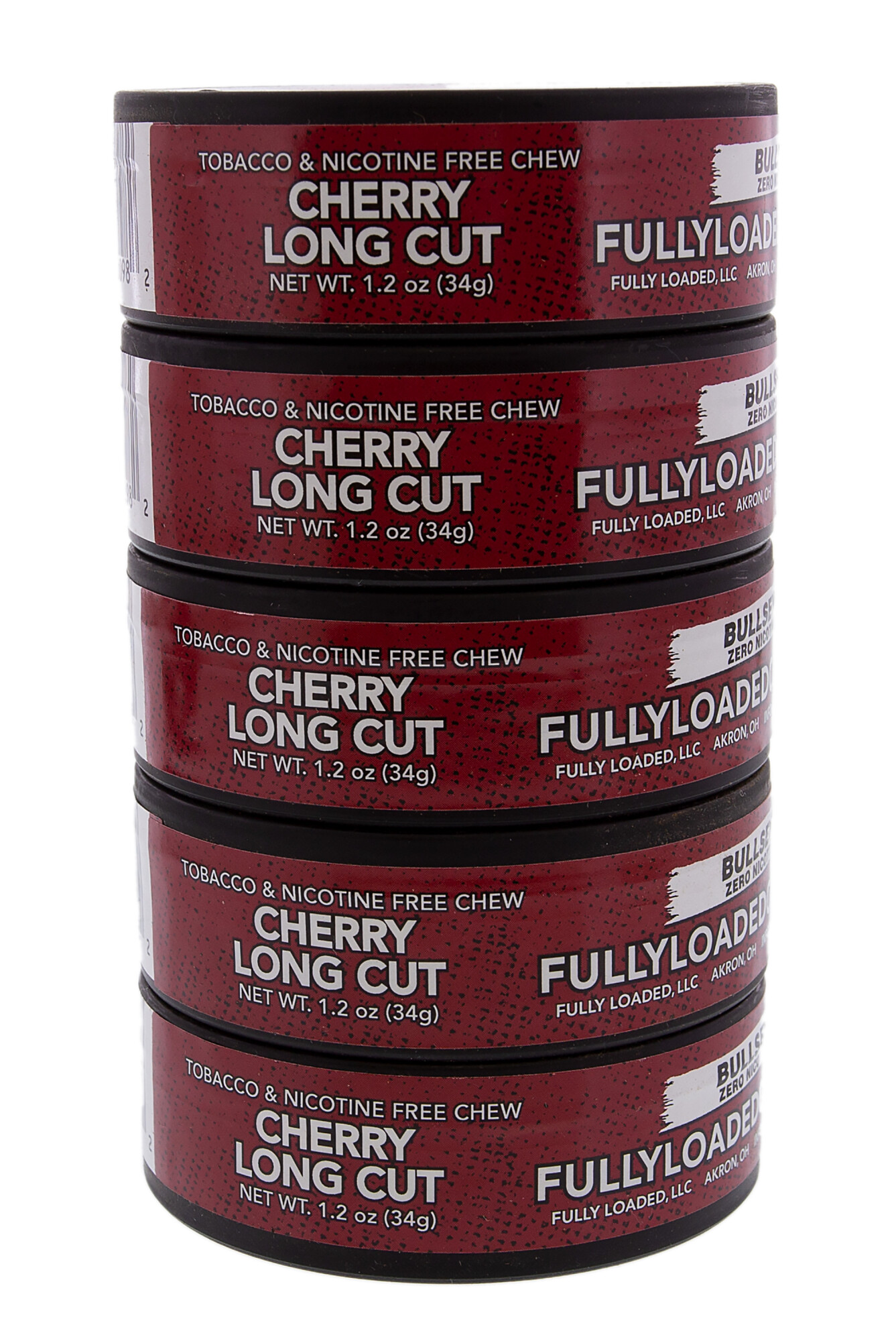 Fully Loaded Chew Tobacco and Nicotine Free Cherry Bullseye Long Cut Rich Flavor, Chewing Alternative-5 Cans