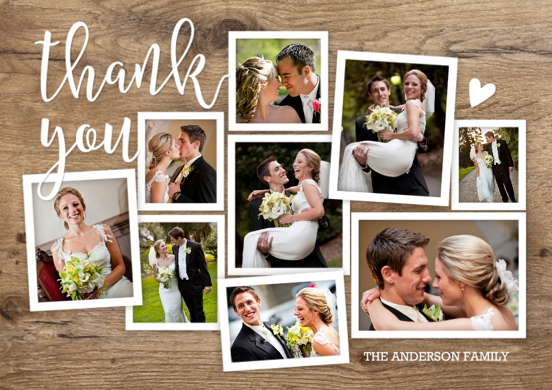 Wedding Thank You Flat Matte Photo Paper Cards with Envelopes, 5x7, Card & Stationery -Thank You Rustic Collage
