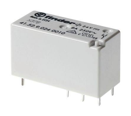 Finder , 24V ac DPDT Power Relay Module, PCB Pin Terminal , PCB Mount