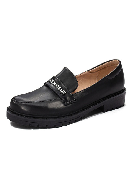 Milanoo Academic Loafers Round Toe Flat Casual Slip-on Women\\\'s Shoes