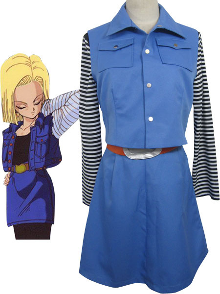 Milanoo Dragon Ball Android 18 Halloween Cosplay Costume Uniform Cloth Combined Leather Halloween
