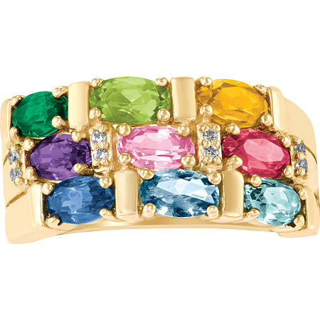 Artcarved Celebrations Of Life 9M Genuine Multi Color Stone 10K Gold Band, 10 , No Color Family