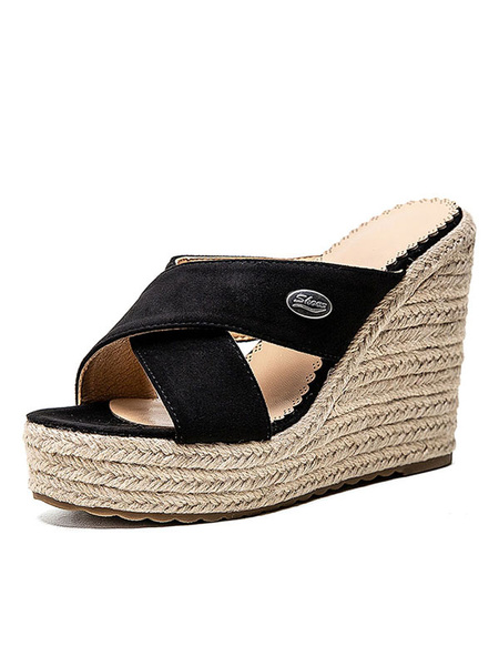 Milanoo Espadrilles Wedge Heel Sandals Womens Plus Size Black Platform heel Shoes