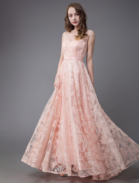 Milanoo Prom Dresses Lace Long Soft Pink Evening Dress Sleeveless Maxi Floor Length Formal Gowns