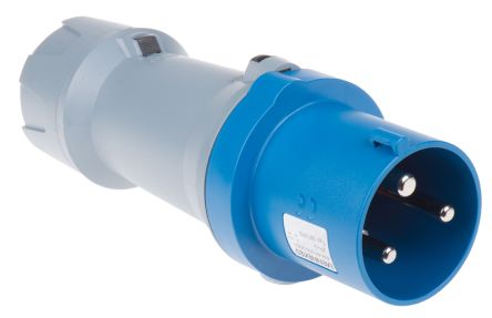 MENNEKES , PowerTOP IP44 Blue Cable Mount 3P Industrial Power Plug, Rated At 63.0A, 230.0 V