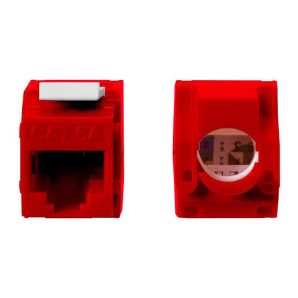 Cat6A RJ45 Toolless 180-Degree Keystone - Monoprice® - Red
