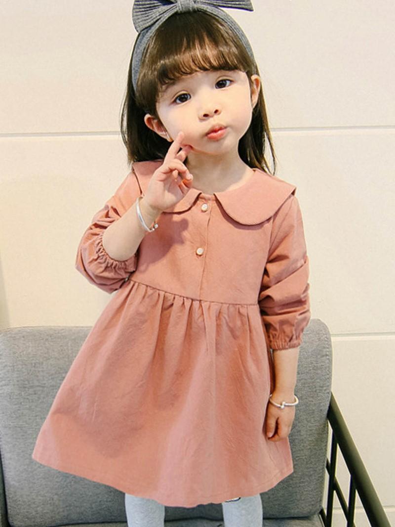 Ericdress Peter Pan Collar Plain Button Baby Girl's Dress