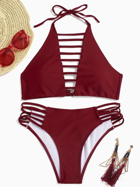 Yoins Red Sexy Halter Neck Ladder Cut Front Bikini Set