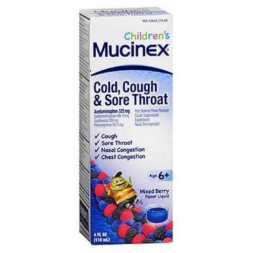 Childrens Cold Cough Sore Throat Liquid Mixed Berry 4 oz by Mucinex