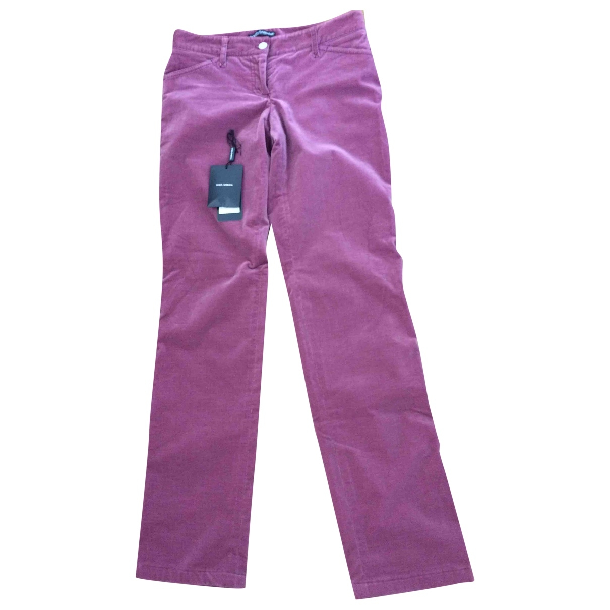 Dolce & Gabbana \N Pink Cotton Trousers for Women 38 IT