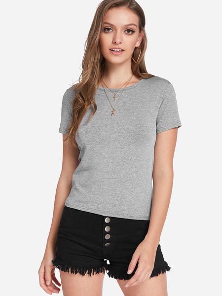 Yoins Grey Plain Round Neck Short Sleeves T-shirts