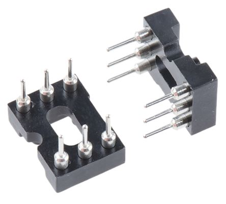 E-TEC 2.54mm Pitch Vertical 6 Way, Through Hole Turned Pin Open Frame IC Dip Socket (67)
