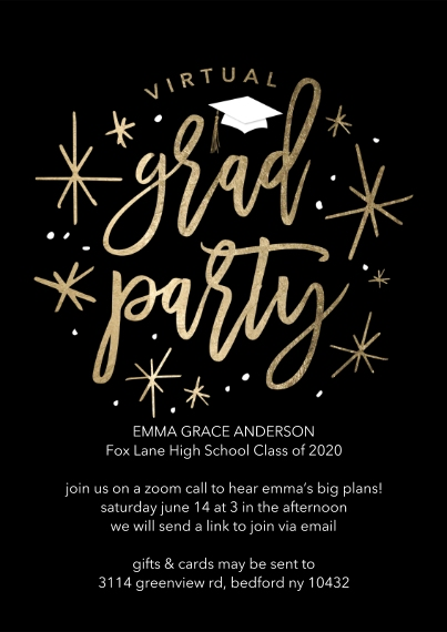 Graduation Invitations 5x7 Cards, Premium Cardstock 120lb with Rounded Corners, Card & Stationery -Virtual Grad Party Shining by Tumbalina