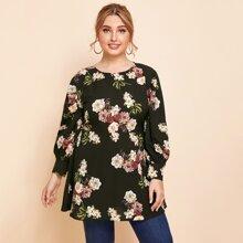 Plus Floral Print Tunic Blouse