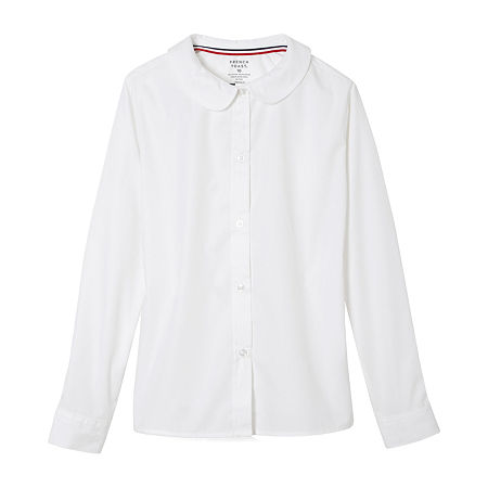 French Toast Little & Big Girls Long Sleeve Button-Down Shirt, 18.5 Plus , White