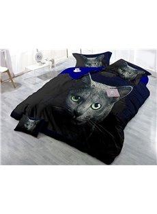 Black Cat Wear-resistant Breathable High Quality 60s Cotton 4-Piece 3D Bedding Sets