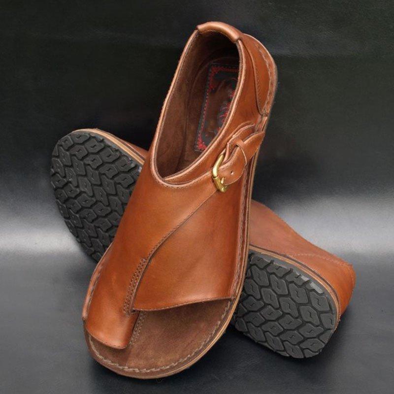 Ericdress PU Toe Ring Slip-On Women's Comfortable Flat Sandals