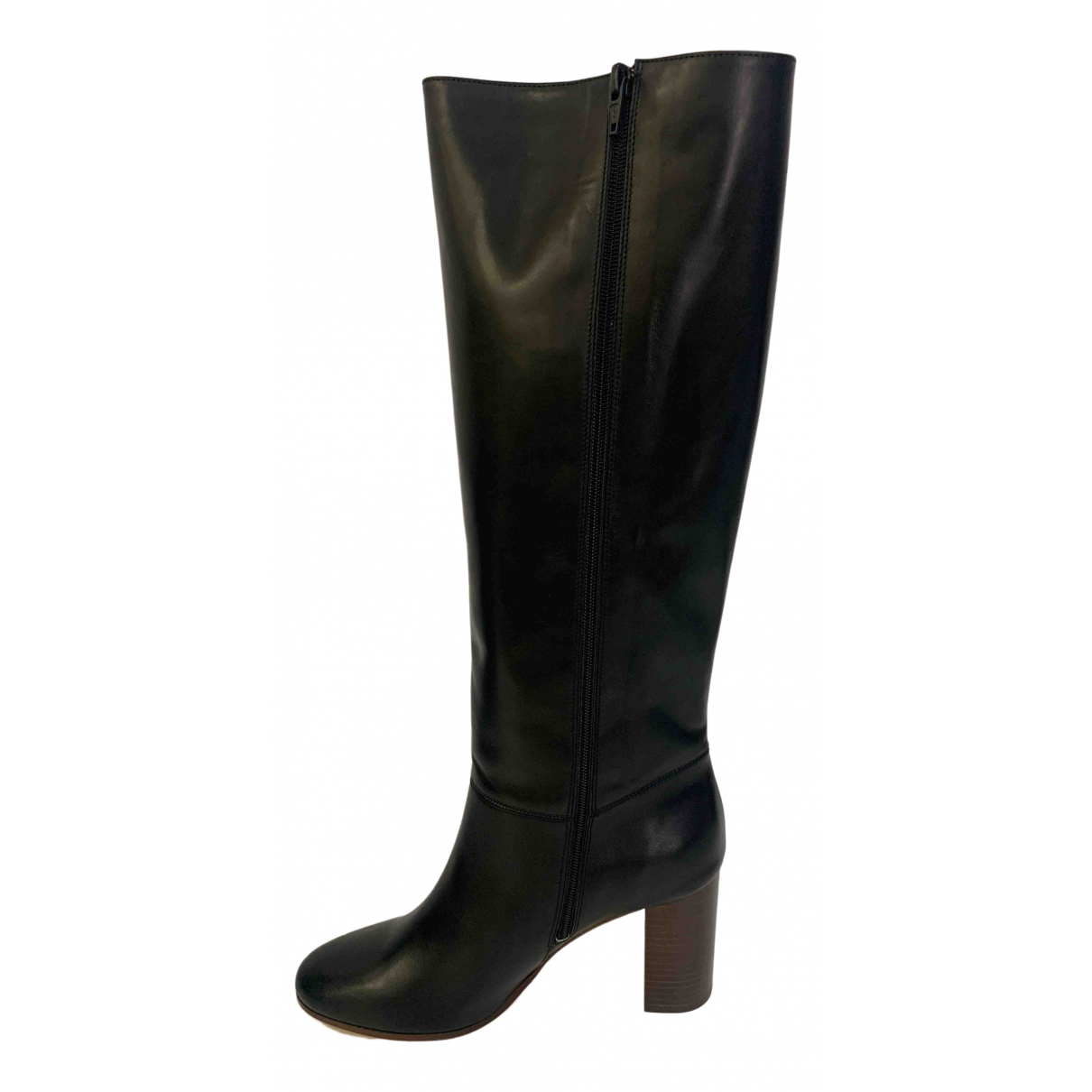 Maje \N Black Leather Boots for Women 39 EU