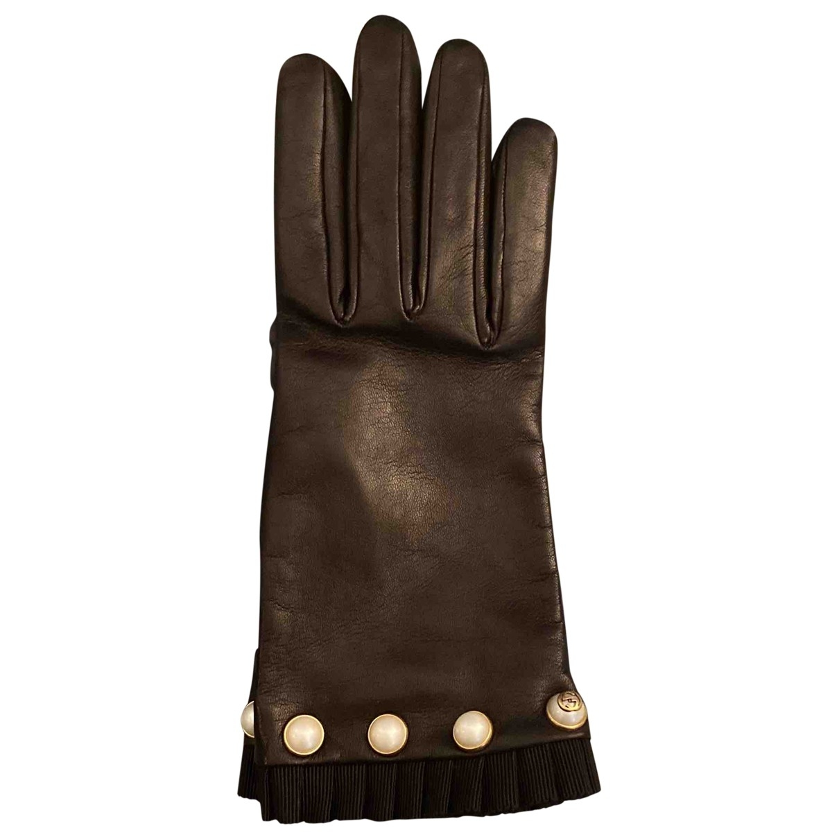 Gucci \N Black Leather Gloves for Women 7.5 Inches