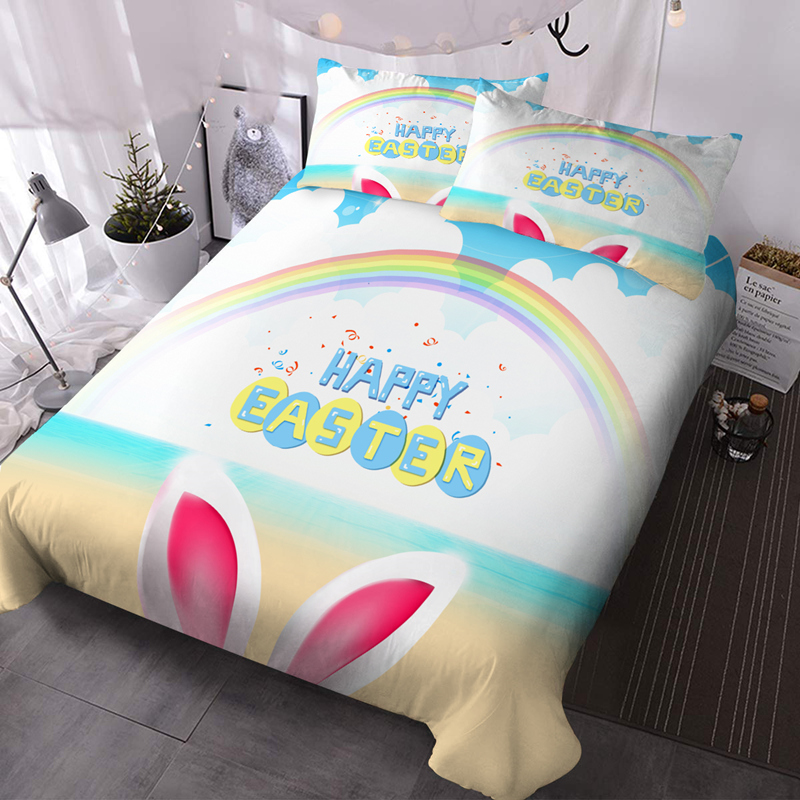 Easter Cartoon 3Pcs Microfiber Wrinkle/Fade Resistant Comforter Set 3D Animal Comforter Insert with 2 Pillow Covers