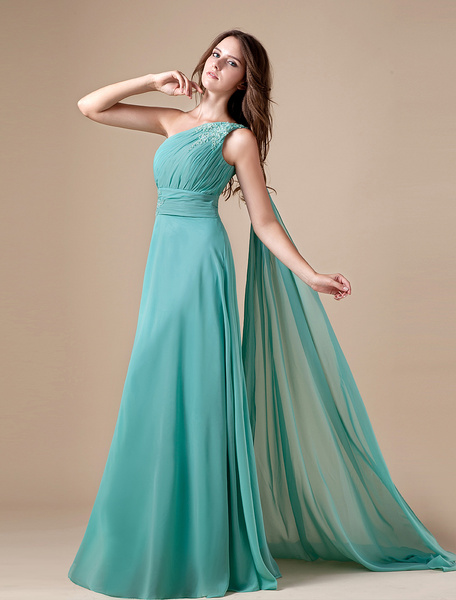 Milanoo Turquoise Chiffon One Shoulder Prom Dress