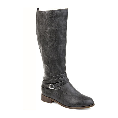 Journee Collection Womens Ivie Xwc Stacked Heel Zip Riding Boots, 9 Extra Wide, Gray