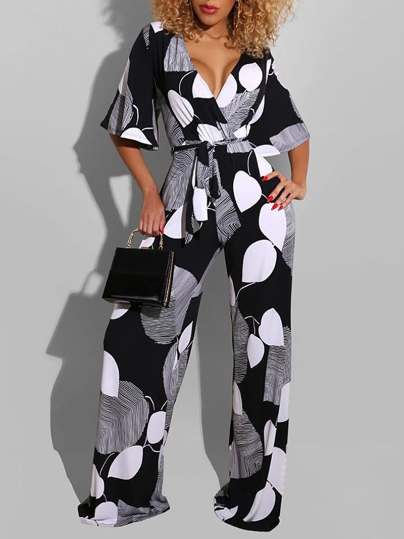 Ericdress Full Length Color Block Print Straight Loose Jumpsuit