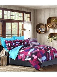 Abstract Scrawl Purple Red Blue Pattern 4-Piece Polyester Bedding Sets/Duvet Cover