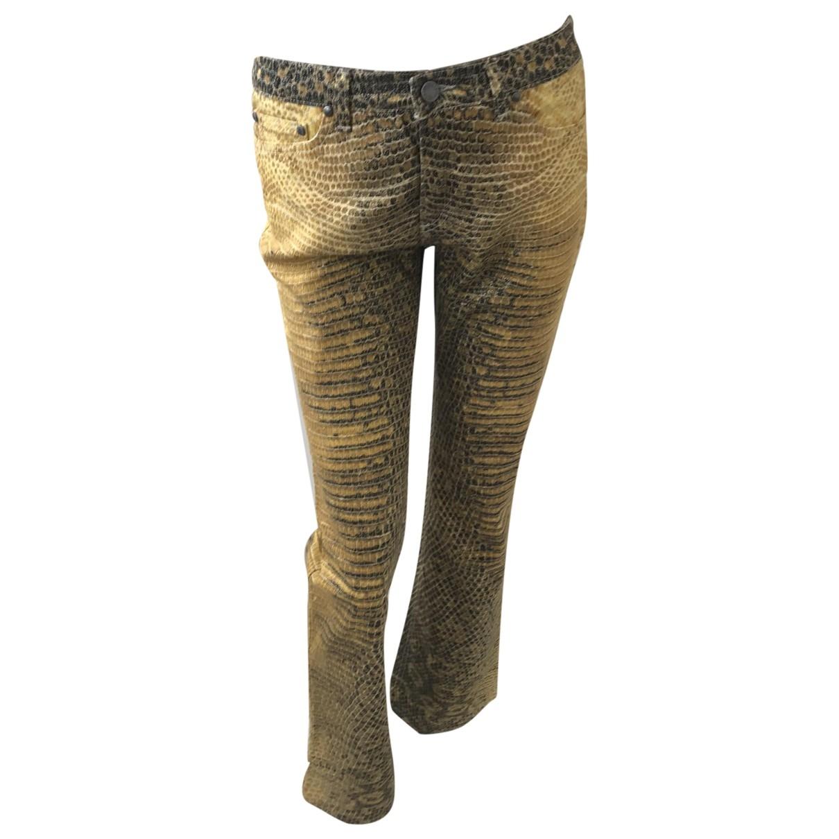 Roberto Cavalli \N Yellow Cotton Trousers for Women S International