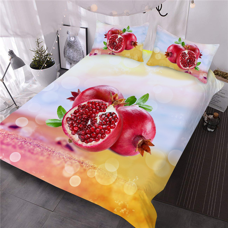 Pomegranate Fruit Fresh Feeling Three-Piece Set Comforter Set Reactive Printing Polyester Bedding Sets
