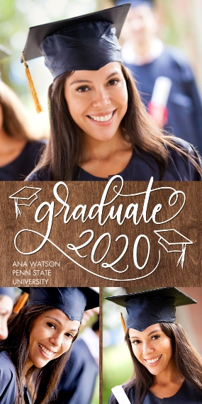2020 Graduation Announcements Flat Matte Photo Paper Cards with Envelopes, 4x8, Card & Stationery -Graduate 2020 Swirl by Tumbalina