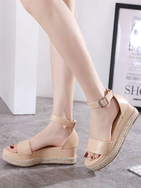 Milanoo Women Wedge Sandals Apricot Platform Open Toe PU Leather Ankle Strap Espadrilles Sandals